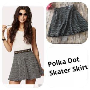 Dresses & Skirts - Polka dot black and white skater mini skirt
